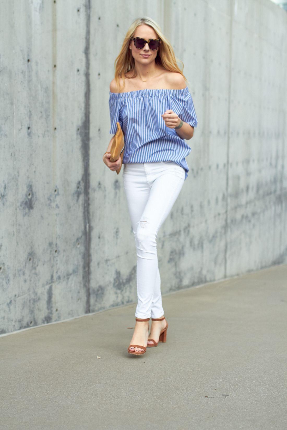 ec0ae47949 BLUE STRIPE OFF THE SHOULDER TOP (Fashion Jackson Blog)