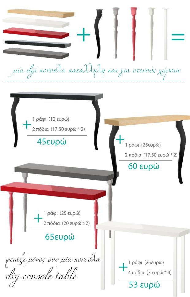 Diy Console Table From Ikea Shelf Desk Legs Ikea Decor