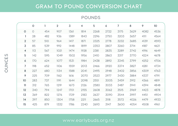 Pounds To Grams Chart Baby Caska