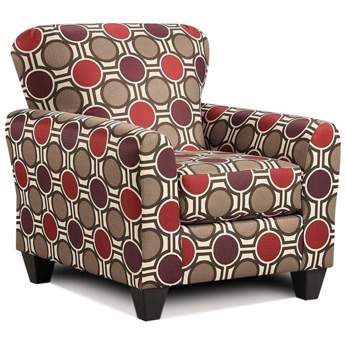 Simple Red Pattern Accent Chair Model