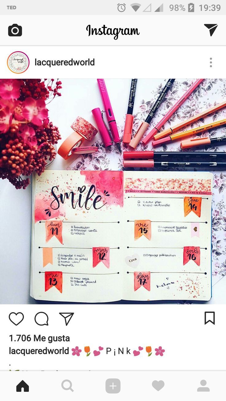 Warm and bright bujo spread with self-care message to self   Bullet ...
