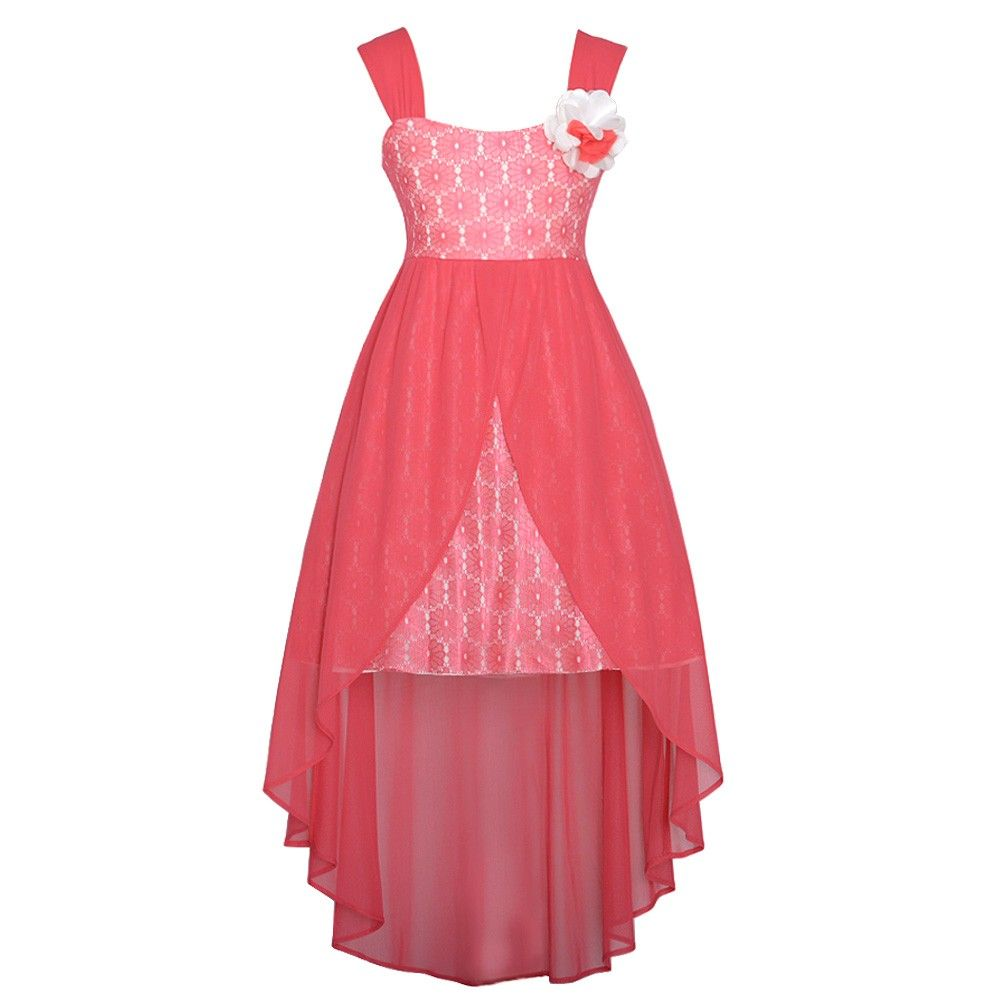 Rare Editions Coral Lace Overlay Flower Hi Low Easter Dress Girls 7-16