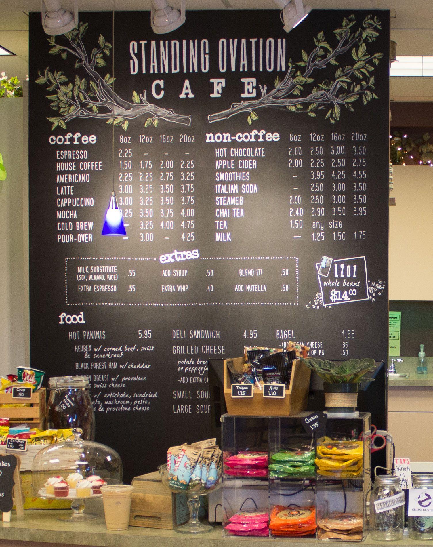 Our Cafe Menu Written In Chalk Pen On A Chalkboard Wall