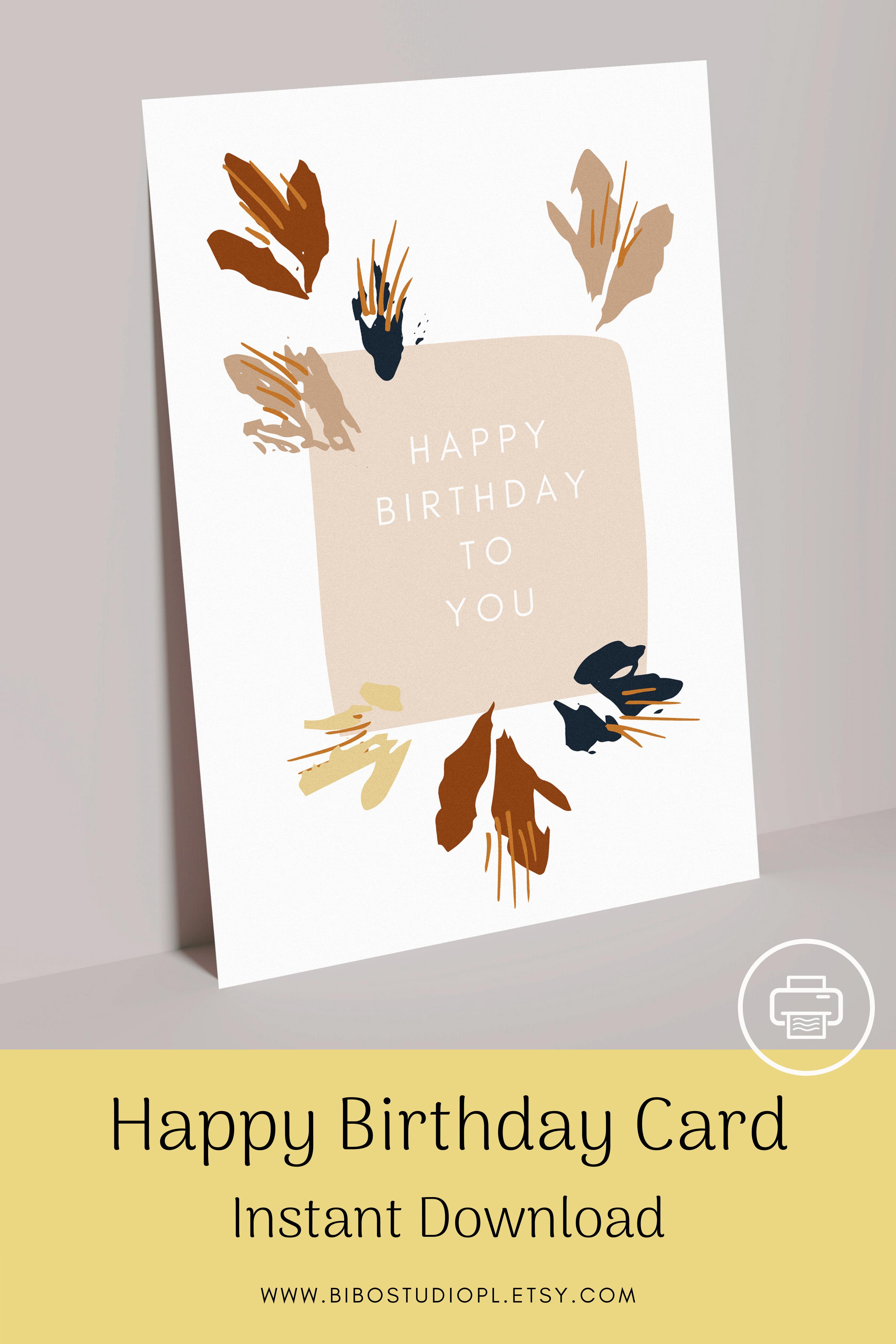 Printable Happy Birthday Card Modern Birthday Card 4 Sizes Etsy Happy Birthday Cards Printable Happy Birthday Cards Birthday Cards