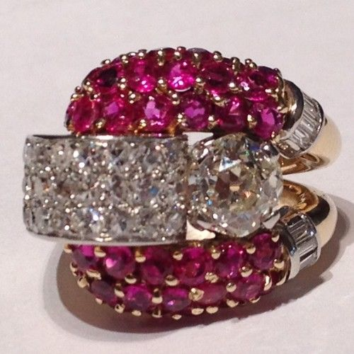 1920's Platinum, Ruby, European Cut Diamond Dinner Ring