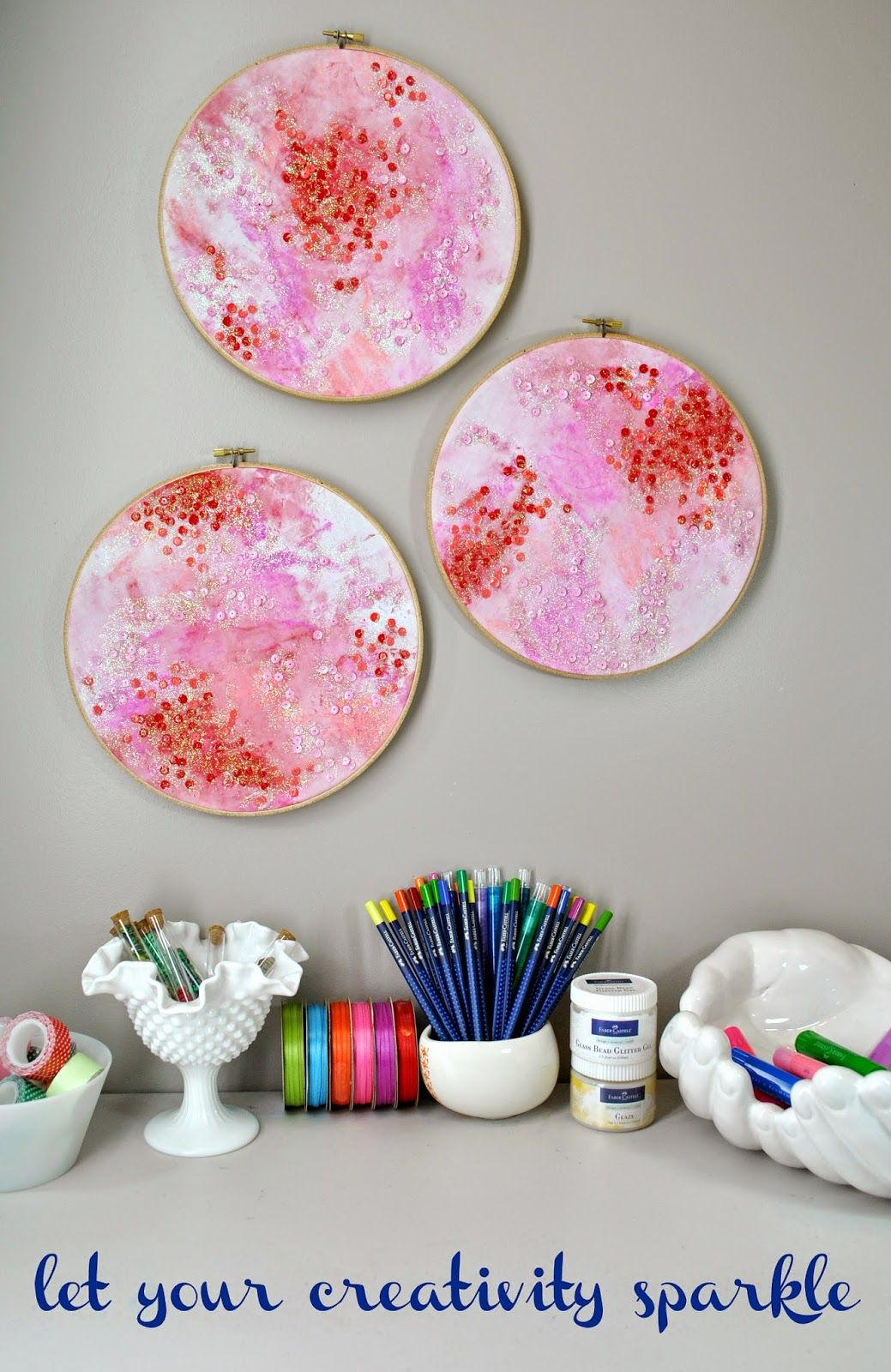 embroidery hoops and fabercastell gelatos veryheatherly