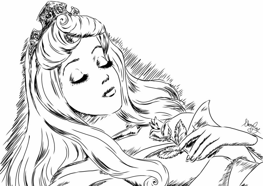 Картинка спящей красавицы для срисовки