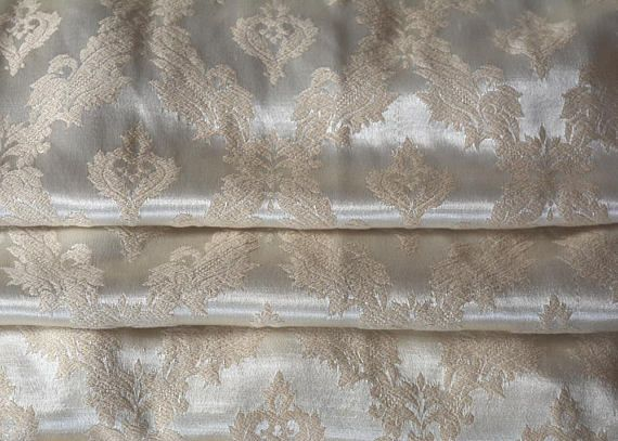 Satin Brocade Curtains Taupe on Champagne Long 24w.