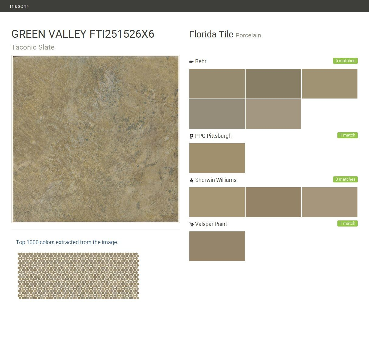 GREEN VALLEY FTI251526X6. Taconic Slate. Porcelain. Florida Tile. Behr. PPG Pittsburgh. Sherwin Williams. Valspar Paint.  Click the gray Visit button to see the matching paint names.