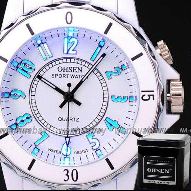OHSEN Hodinky Women s White Luxury Waterproof Sports Watches 7 Multi-color  Led Light Clock Watch OH02 Relogio Esportivo Feminino 844b4af5624