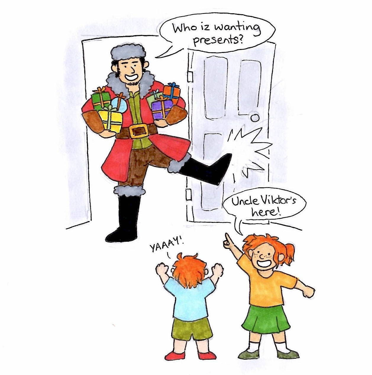 concept: viktor krum remains a good friend of the granger-weasley household and visits every christmas like a handsome bulgarian santa claus :)