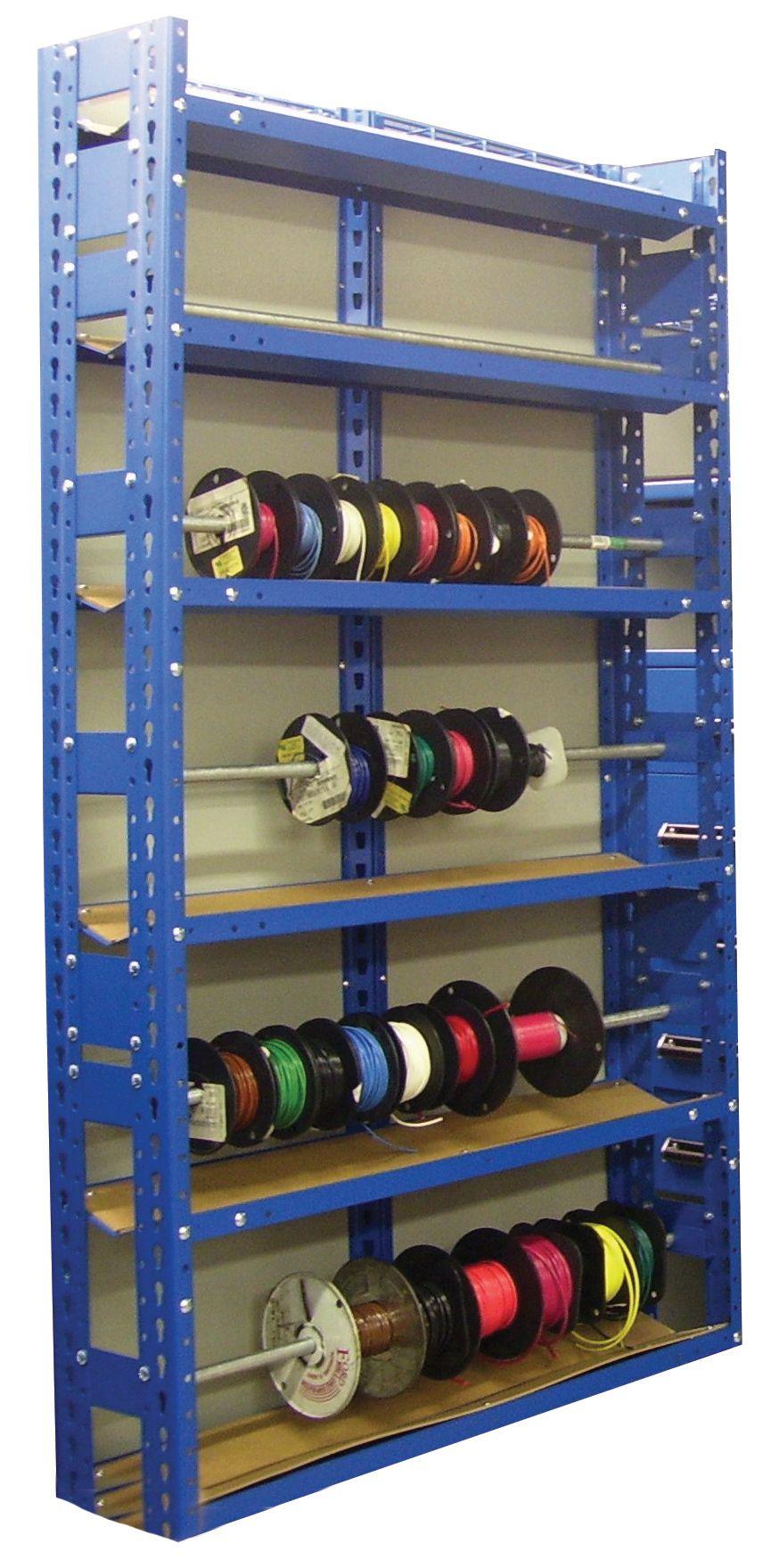 Wire Spool Rack Diy : spool, Storage, Cable, Spool, Organizer, Shelves, Adjustable, Levels, Rack,, Storage,