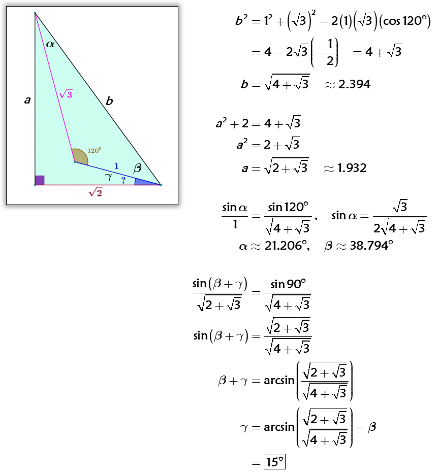 Solved By Law Of Cosines Pythagorean Theorem And Law Of Sines Maths Solutions Law Of Cosines Pythagorean Theorem