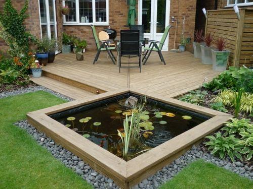 Garden Ideas Design With Wooden Gravel Lawn Pond Garden Furniture