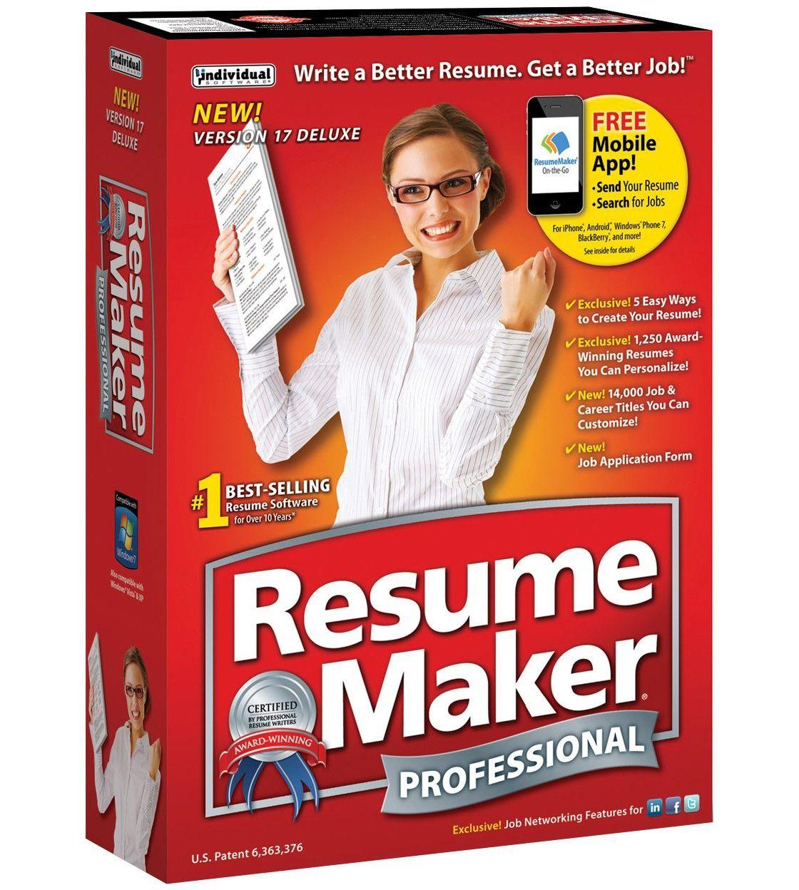 Resumemaker Professional Deluxe 17 Resume maker, Resume