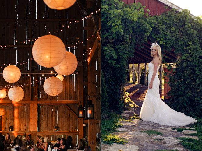 Paper lanterns and twinkle lights #rustic #wedding #barn (Photo: Nikki Mills)