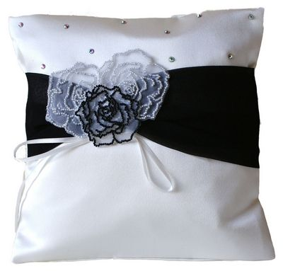 Rose Personalised Black Wedding Ring Pillow Handmade In The UK Buy On Line At