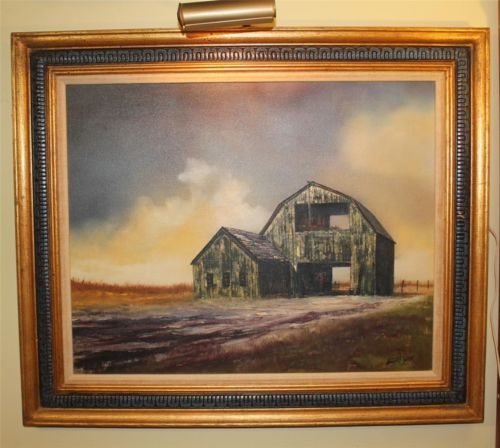 SIGNED Hector Salas Oil Painting 24x30 with Lightening