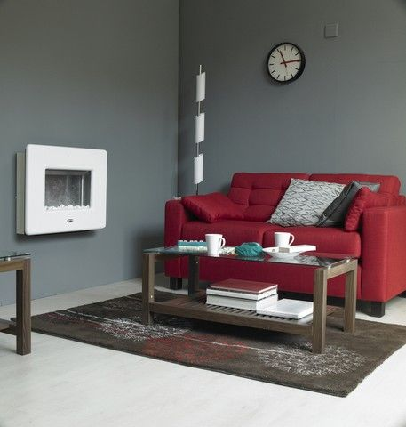 Living Room With Muted Grey Walls And Bright Red Sofa Living Room
