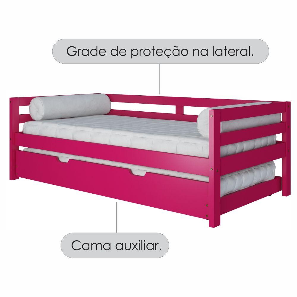 Sofa Cama Com Cama Auxiliar Rosa Madeira Macica Casatema