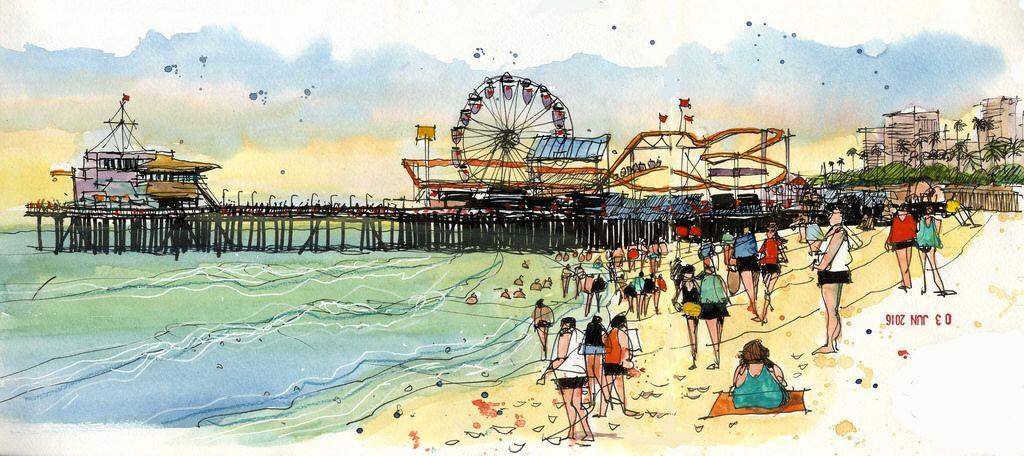 Santa Monica Beach Seaside Art Beach Sketches Santa Monica Beach