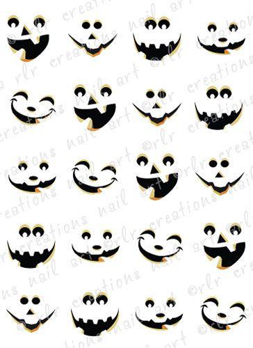 20 halloween nail decals cute jack o lantern faces water slide