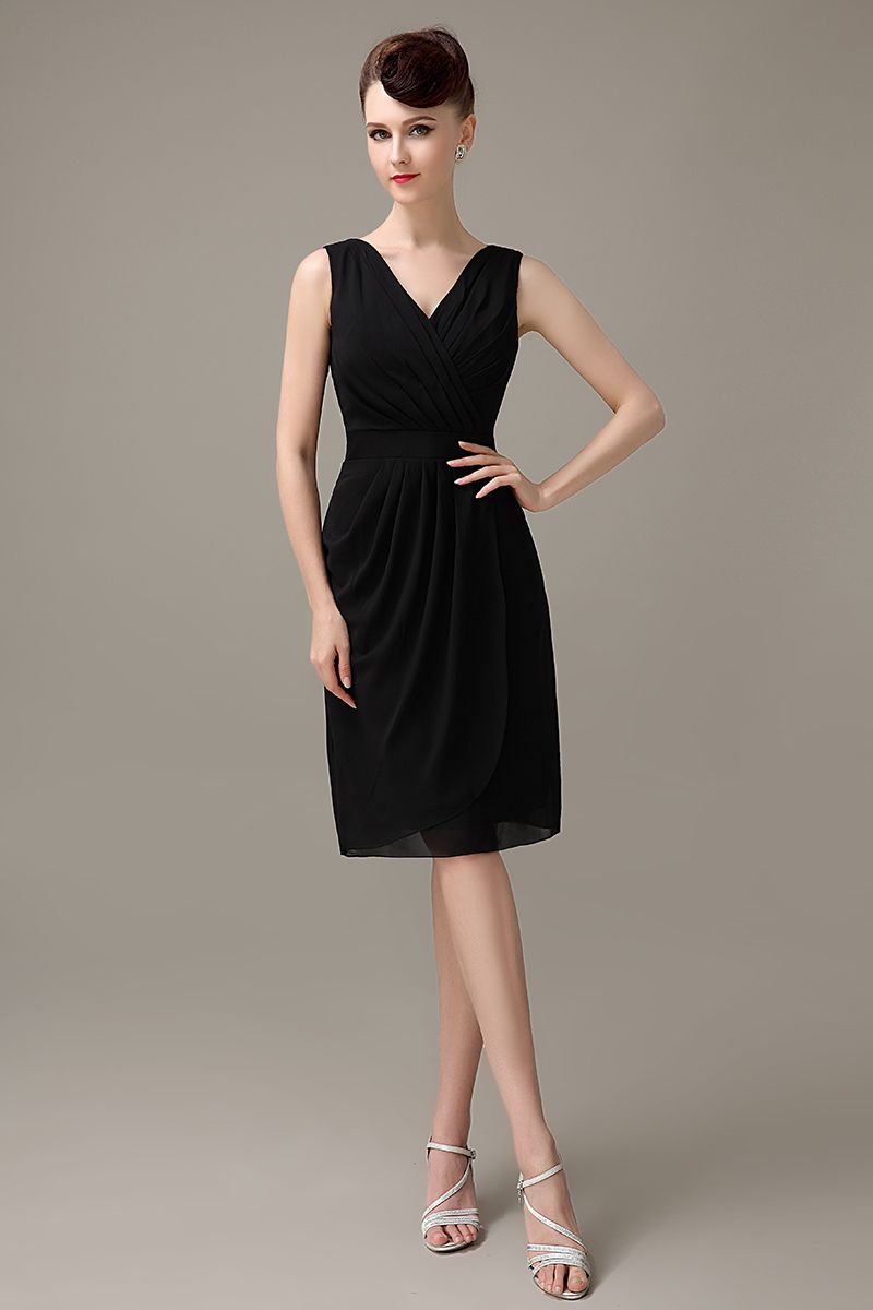 Click to buy black v neck knee length simple chiffon bridesmaid click to buy black v neck knee length simple chiffon bridesmaid ombrellifo Choice Image