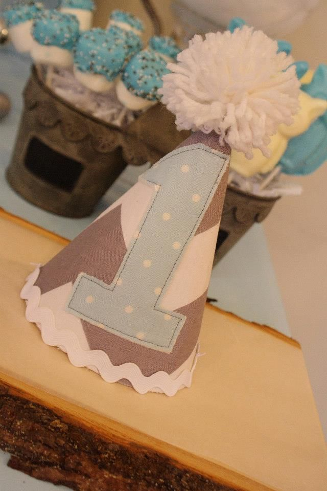 1st birthday party- baby boy - dessert table - sweets candy table ideas - chevron - owl - party hat