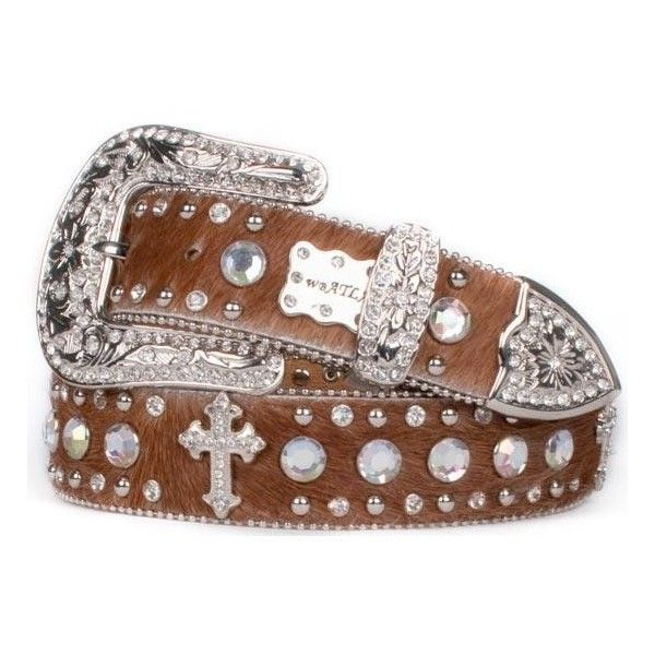 Brown Hair-On Cross Belt With Clear Crystals ($60) ❤ liked on Polyvore