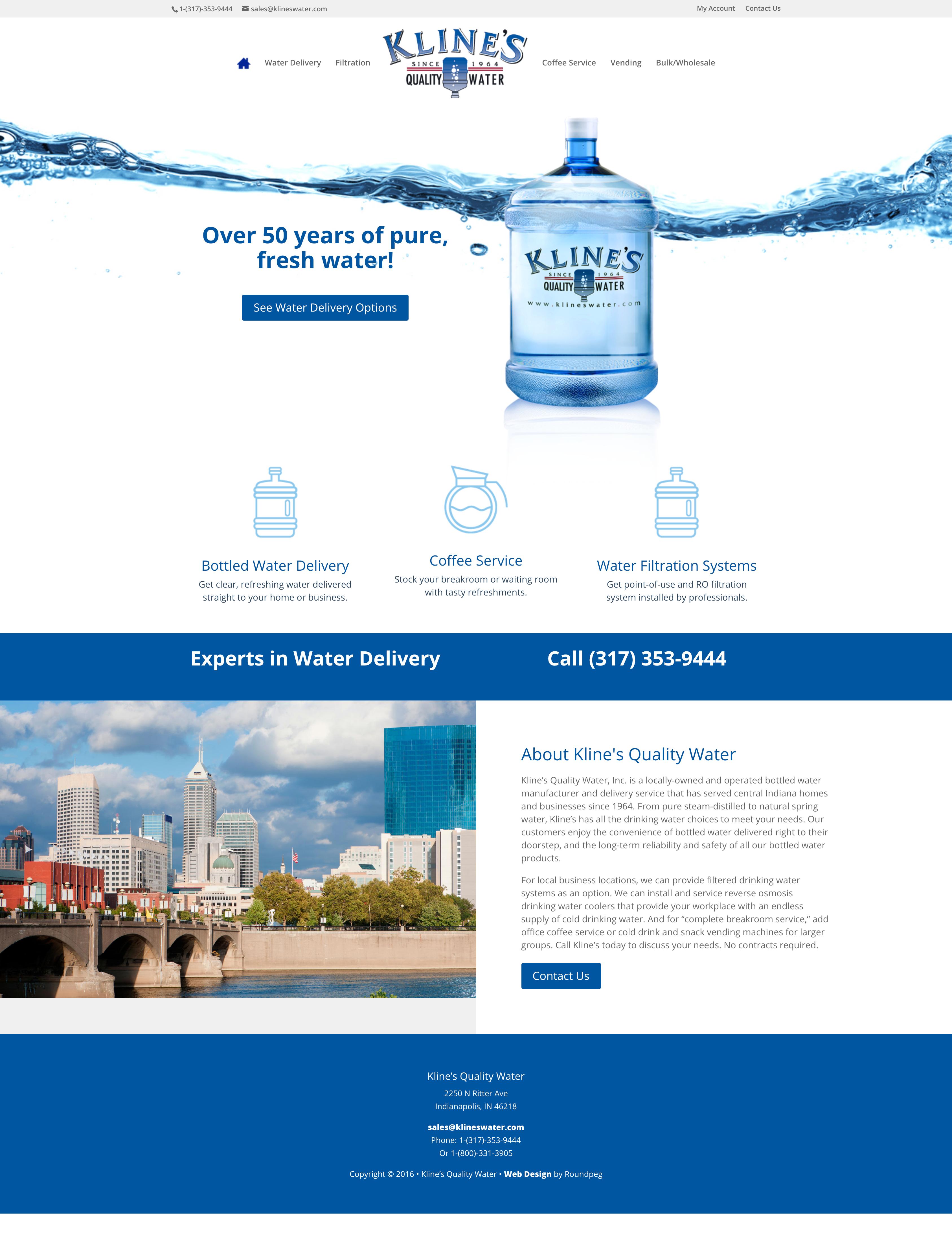 Kline S Quality Water Web Design Sample Roundpeg Indianapolis Small Business Web Design Corporate Web Design Web Design