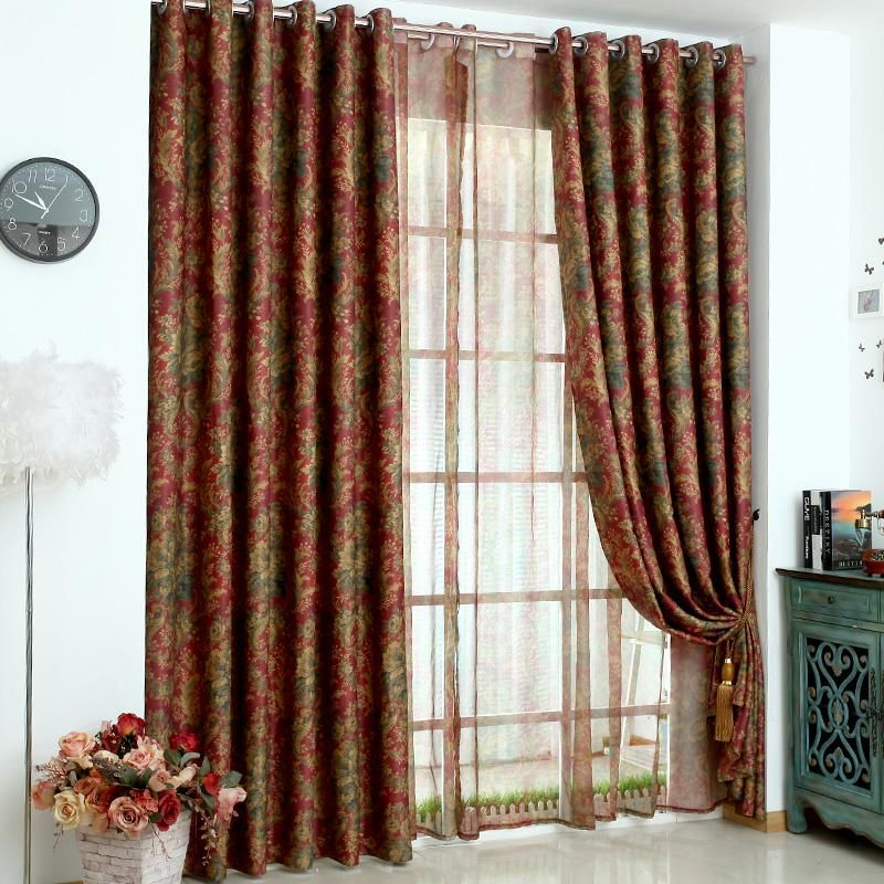 Europe Luxurious Double Sided Printed Tulle Window Curtains For