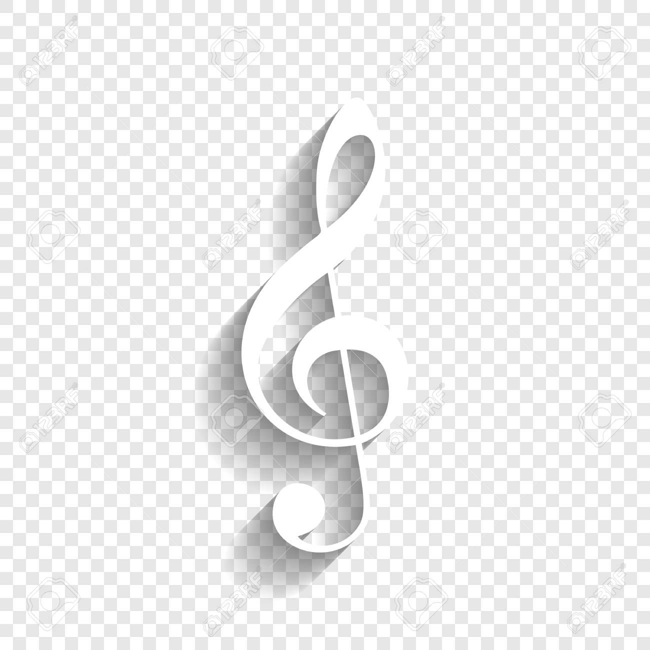 Music Violin Clef Sign G Clef Treble Clef Vector White Icon With Soft Shadow On Transparent B Infographic Design Transparent Background Architecture Design