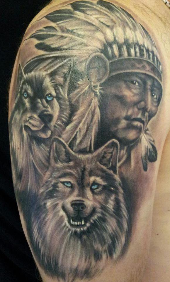 Indiano Tatoo Tatuagens Impressionantes Lobo Tatuagem