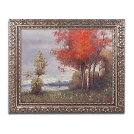 Trademark Fine Art Landscape with Red Trees Canvas Art by Daniel Moises, Gold Ornate Frame, Size: 16 x 20