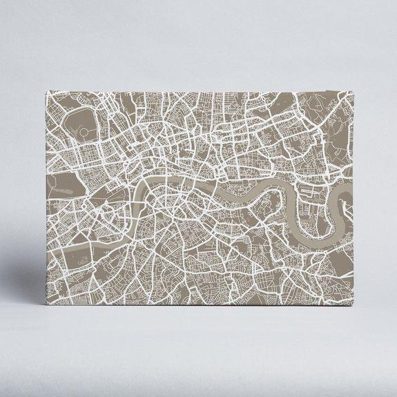 artPause - Citymap - Taupe - Canvas
