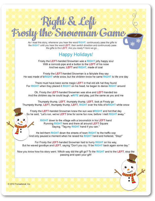 Printable Right & Left Frosty the Snowman - Yellow | CHRISTMAS ...
