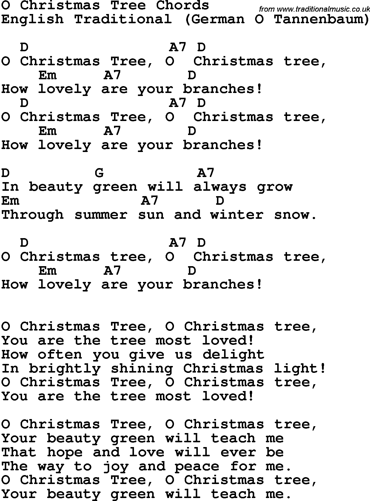 Song lyrics with guitar chords for O Christmas Tree 2 u1Hu2EuR ...