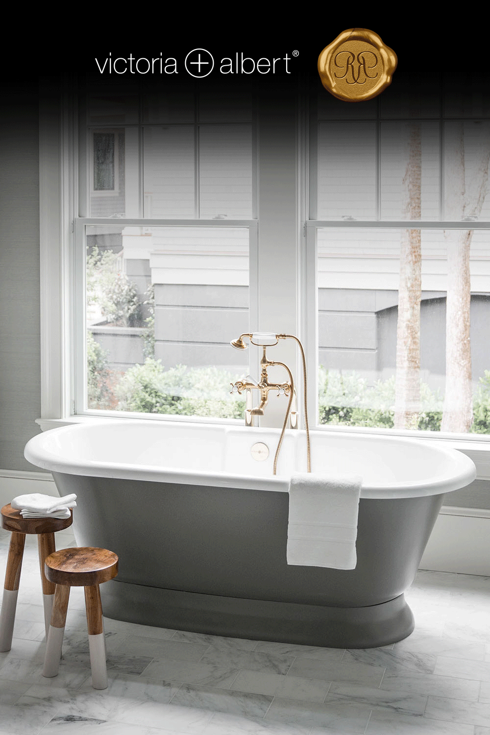 Tie Your Bathroom Color Scheme Together With The Victoria Albert Double Ended Elwick Tub In A D In 2020 Bathroom Color Schemes House Bathroom Bathroom Remodel Shower