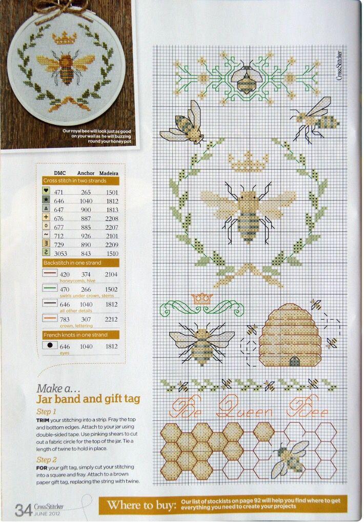 Photo of Honeybee cross stitch sampler – queen Bee