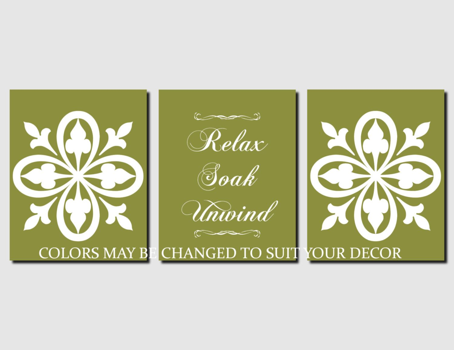 Bathroom Decor Relax Soak Unwind Green Bathroom Wall Art Black and ...