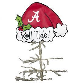 """Canvas tree topper with a Santa hat silhouette and a Alabama spirit motif.    Product: Tree topperConstruction Material: CanvasColor: RedFeatures:  Hangs by wireIncludes ribbon and beadsDimensions: 4"""" H x 11"""" W"""