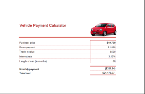 Vehicle Loan Payment Calculator Download At HttpWwwTemplateinn