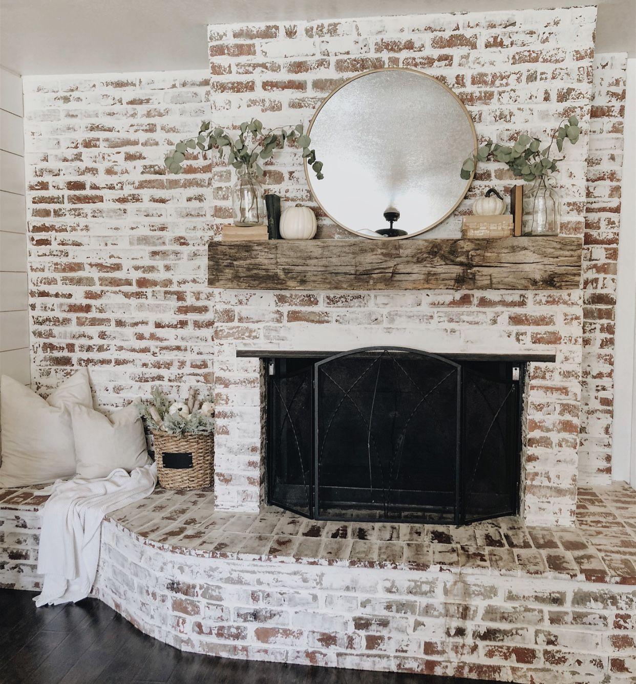 German Smear Fireplace Diy Brick Wall White Wash Brick