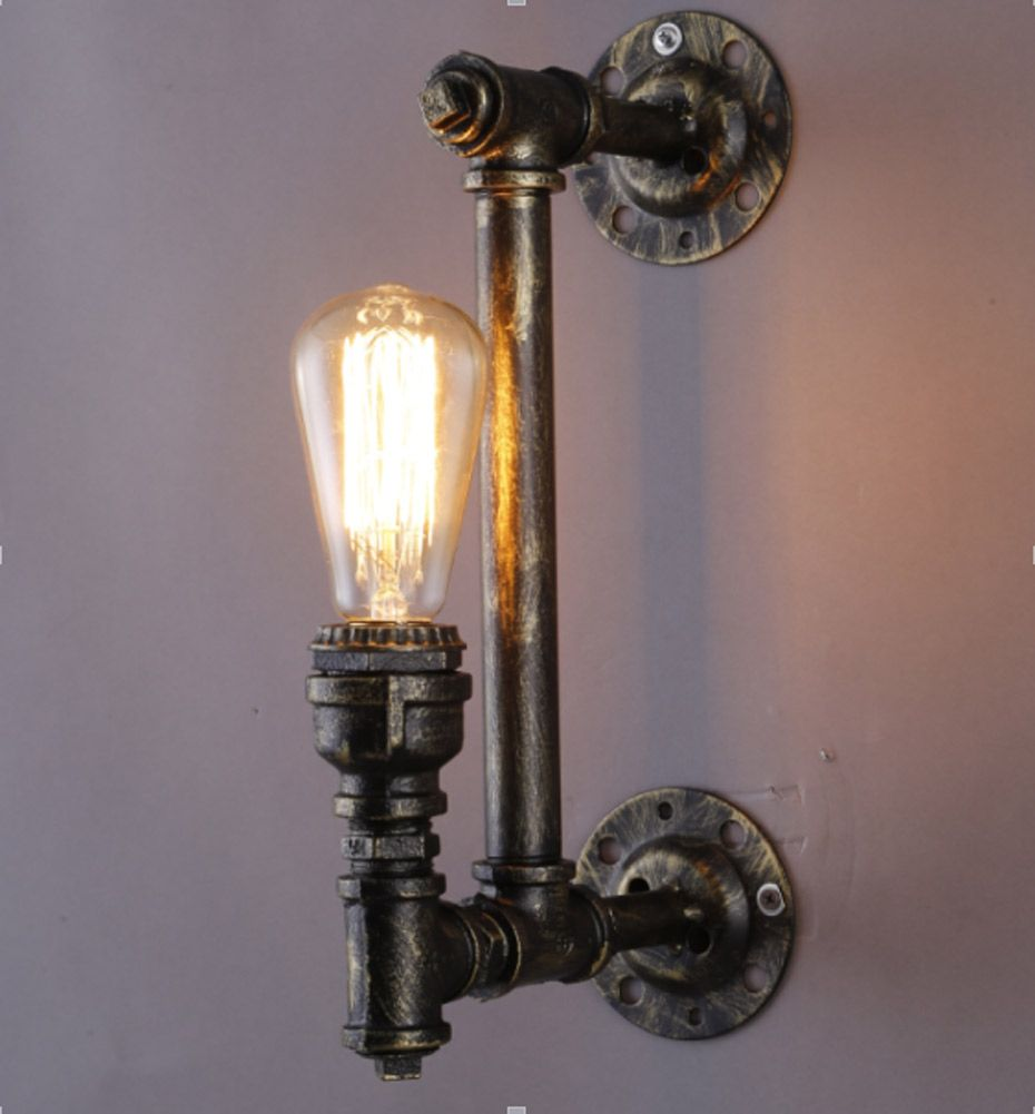 Nordic Loft Style Industrial Water Pipe Lamp Vintage Wall Light For ...