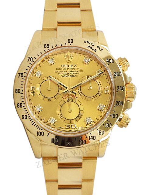 Rolex Daytona 18k Yellow Gold Champagne Diamond Dial 116528 Rolex