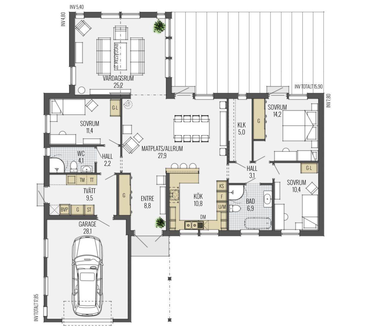A:012 - Trivselhus (ritning)   hus planlösning   Pinterest   Hus ...