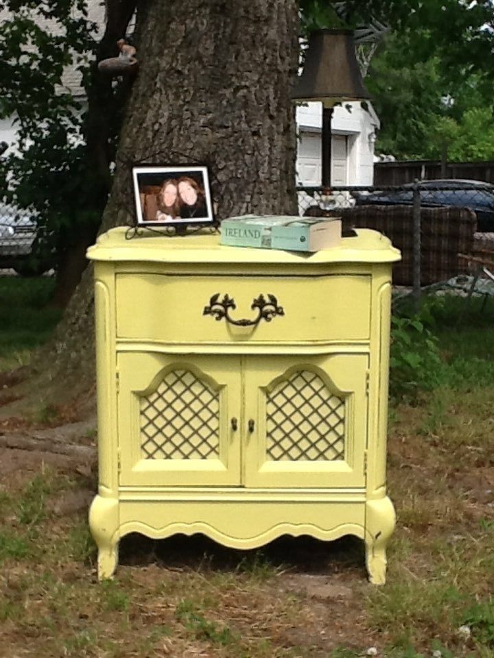 Vintage hand painted french provincial night stand painted