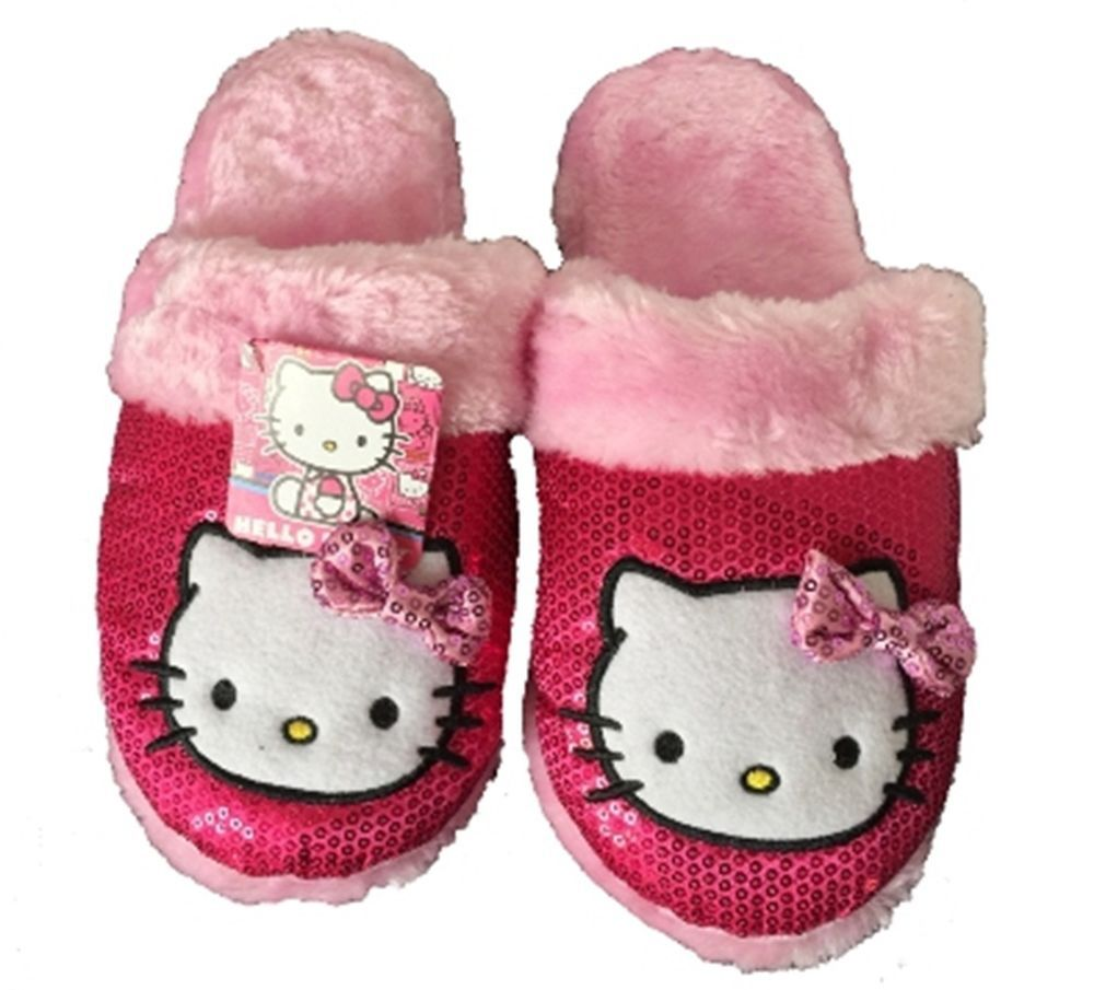 Hello Kitty Ladies Slippers House Shoes Scuffs Pink Plush MEDIUM 7-8 New w/Tags  #HelloKitty $29.99