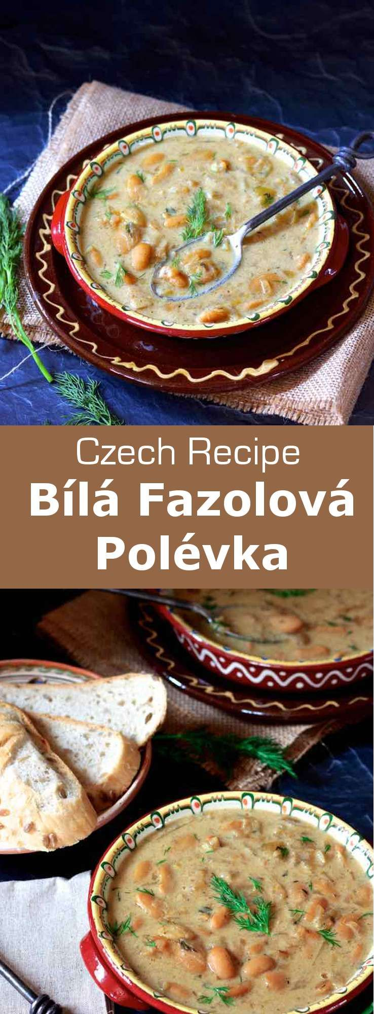 Frugal, filling, and deliciously hearty, this bílá fazolová polévka (white bean soup) is one of the culinary mainstays of the Czech Republic. #CzechRepublic #CzechCuisine #CzechRecipe #Soup #CzechSoup #Vegetarian #VegetarianSoup #WorldCuisine #196flavors #czechrecipes