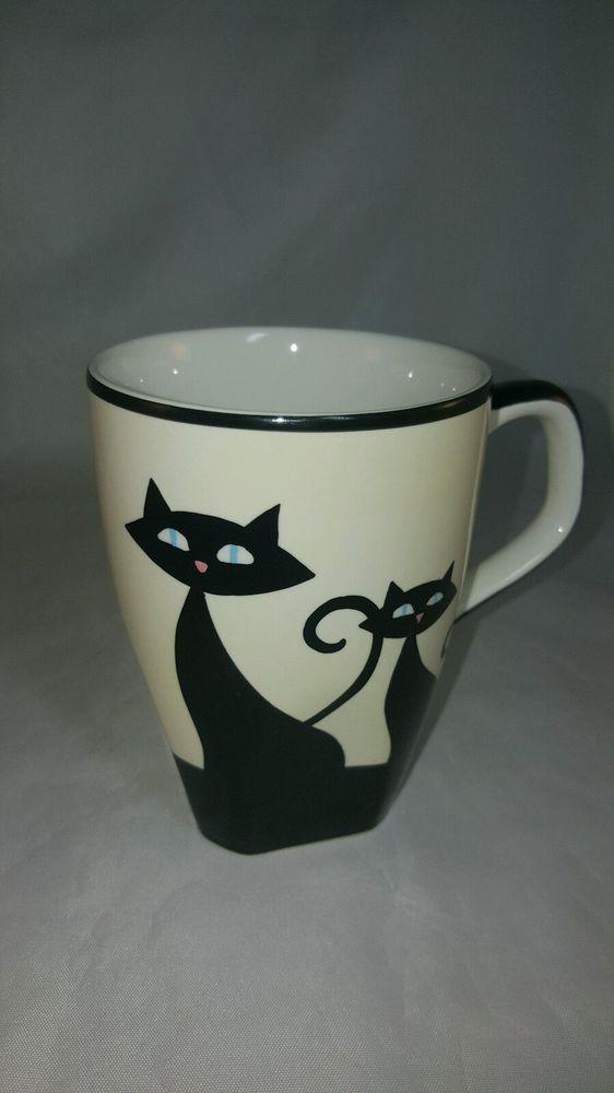 hues n brews mug cattitude cat paw prints coffee tea black cream back in black mugs cat paw. Black Bedroom Furniture Sets. Home Design Ideas
